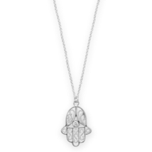 Sterling Silver Chain Necklace with Polished Hamsa Pendant - $45.99