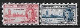 1946 Peace and Victory Set of 2 British Guiana Stamps Catalog Number 242-43 MNH