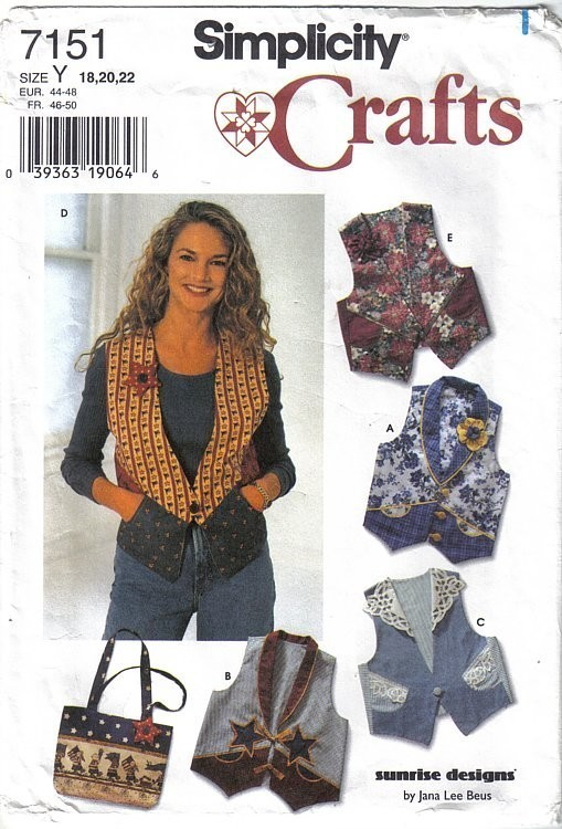 Simplicity Pattern 7151 Misses Vest and Bag Sizes 18-22 Uncut