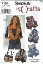 Simplicity Pattern 7151 Misses Vest and Bag Sizes 18-22 Uncut - $6.99