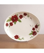 Christmas Holiday Poinsettia Red Serving Platter - $124.99