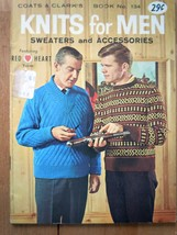Vintage Knits For Men Sweater & Accessories Coats & Clark Book No 134 1962 - $3.99