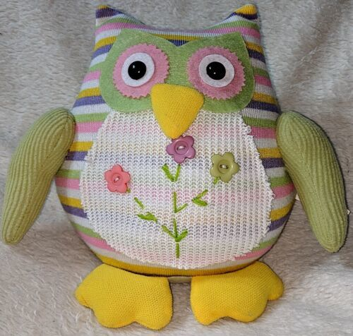 GANZ 96M7432 Multi Colored Polyester 10 Inch Tall Striped Owl