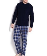 Club Room Mens PJ Set Long Sleeve Fleece Shirt & Pants Navy Plaid Choose... - $28.04