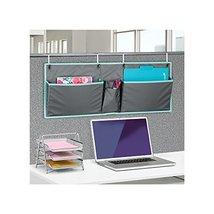 mDesign Fabric Wide Large Over The Cubical Wall Mounting Hanging File Folder Not image 2