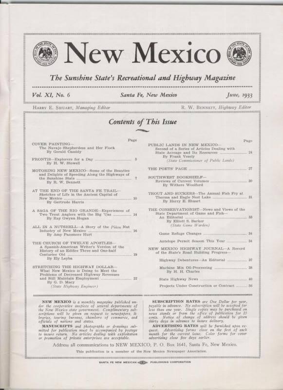 1933 JUNE NEW MEXICO MAGAZINE  THE SANTA FE TRAIL image 2