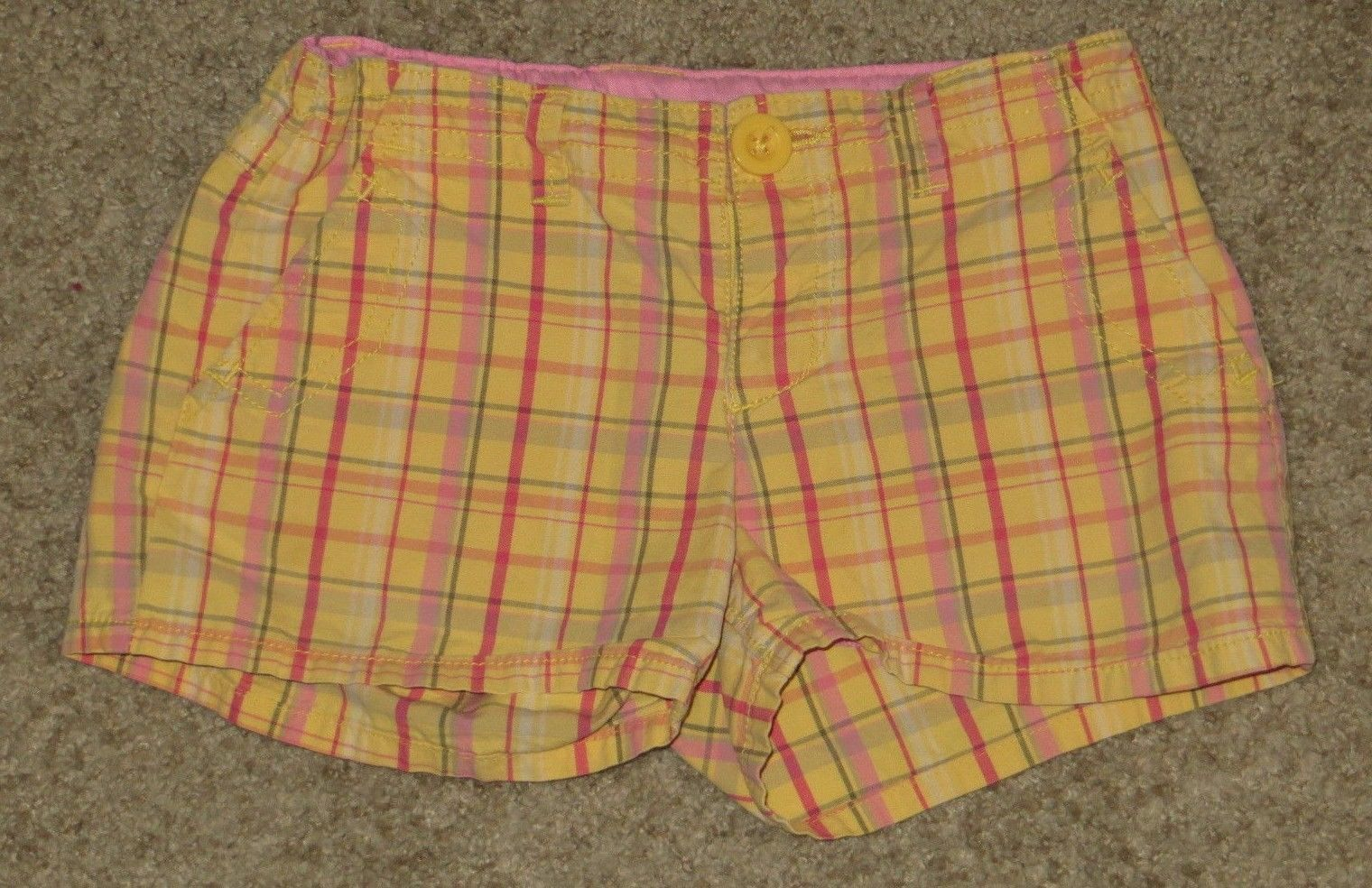 EUC Gap Kids Yellow Pink Green Plaid Shorts Size 8R 8 Regular