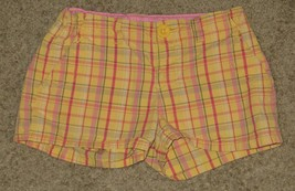 EUC Gap Kids Yellow Pink Green Plaid Shorts Size 8R 8 Regular - $3.99