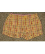 EUC Gap Kids Yellow Pink Green Plaid Shorts Size 8R 8 Regular - $3.99