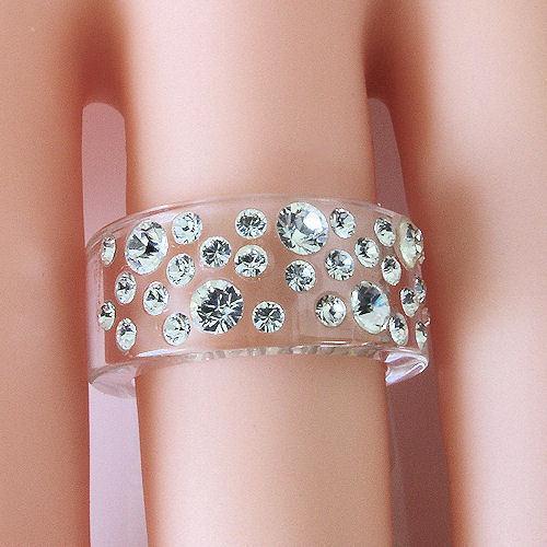 New Clear Acrylic Band Ring Large & Small Randow Row Swarovski Elements Crystal image 2