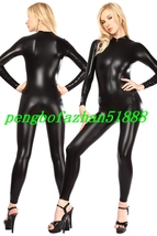 Sexy Front Zipper Body Suit Black Shiny Metallic Catsuit Costumes Unisex... - $32.99
