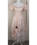 Vtg 80's Zum Zum Peach Satin Lace Southern Belle Gown Tiered Ruffle Prom... - $119.95