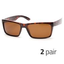 2 PC Mens Casual Polarized Tortoise Dark Lens Squa Flat Top Classic Sunglasses m - $14.99