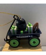 NFL Wagon Ornament W/Football & Helmet Wagon With Presents Seattle Seahawks - $14.54