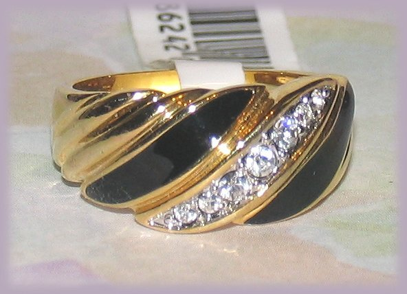 Primary image for Black Enamel & 18k Gold Dinner Fashion Ring New