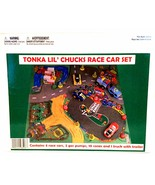 Tonka Lil' Chunks Race Car Set 4 Race Cars 2 Gas Pumps 10 Cones Truck & ... - $18.80