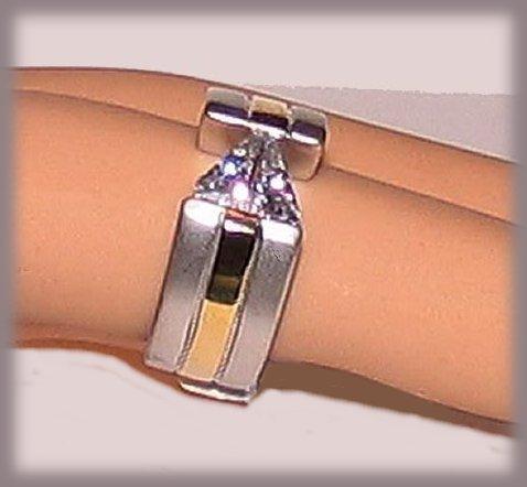 Trillion Cut CZ Solitaire Ring, Faux Titanium &YGP, Size 6 Bonanza