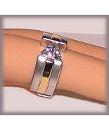 Trillion Cut CZ Solitaire Ring, Faux Titanium &YGP, Size 6 - $19.99