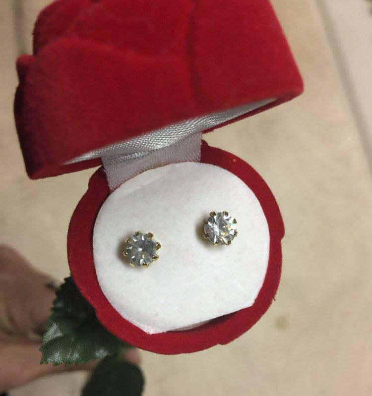 Vintage Clear Rhinestone Stud Earrings in Red Flocked Long Stem Rose Gift Box image 8