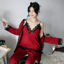 3pcs/set Sexy Bathrobe Women Pajamas Nightgown Lace Sleepwear Robes + To... - $82.70