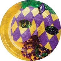 "Masks of Mardi Gras 8 Ct 7"" Dessert Cake Paper Plates - $3.89"