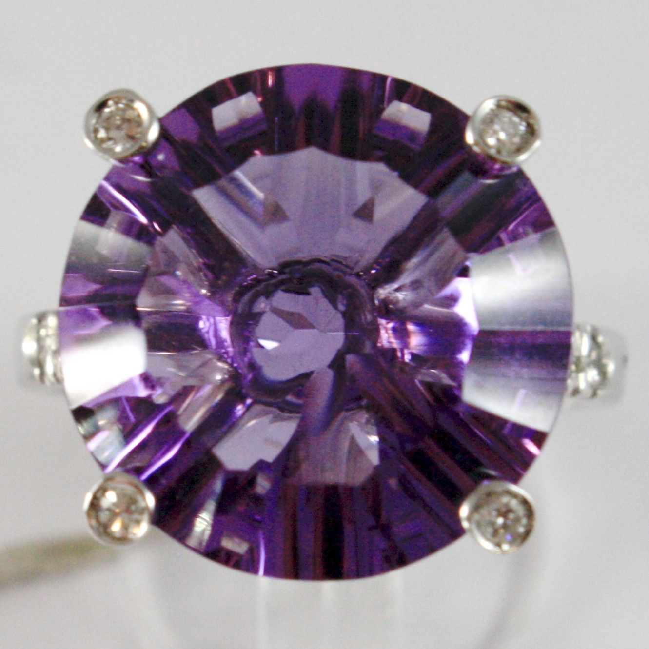 WHITE GOLD RING 750 18K, WITH AMETHYST ROUND CT 11.5, AND DIAMONDS CT 0.21