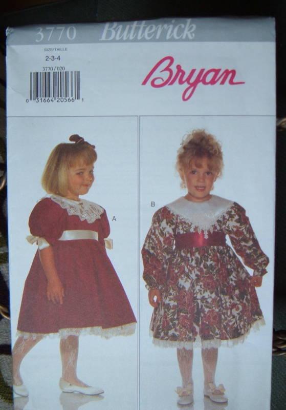 Butterick 3770 Bryan Dress Girls 5-6-6x 1994 Butterick