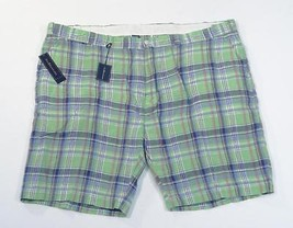 Polo Ralph Lauren Green Plaid Slim GI Fit 100% Linen Shorts Mens NWT - $86.24