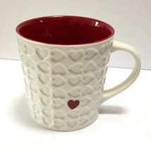 Starbucks Embossed Hearts Mug 16 oz Large Coffee Mug 2007 Red Interior V... - $19.95