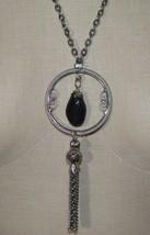 Black Agate Pendant Tassel Silver Tone Necklace Vintage - $24.74