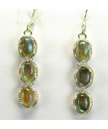 Blue Flash Labradorite Oval Cabochons tooled Sterling Silver Dangle Earr... - $83.00
