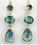 Faceted Topaz + Amethyst and Rainbow Quartz Tear Sterling Silver Dangle ... - $96.96