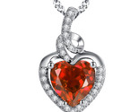 Sterling Silver Created Heart Cut Garnet Pendant Necklace Valentine's Day Gifts