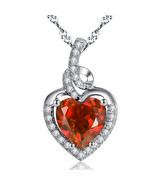 Sterling Silver Created Heart Cut Garnet Pendant Necklace Valentine's Day Gifts - £22.01 GBP