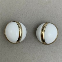 Sarah Coventry Clip On Earrings Domed White Gold Tone 1966 Holiday - $10.26