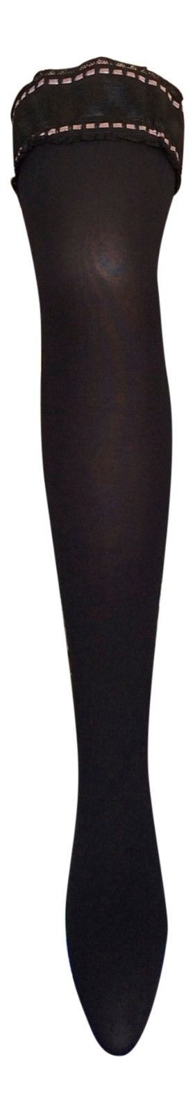 Ladies 50 Denier Opaque Black Plain Top Fashion Over Knee Hold Ups Stockings