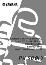 Yamaha PW50 N 2001 Workshop Service Repair Manual Reprinted Comb Bound - $24.95