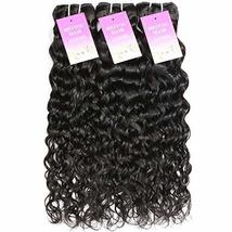 "Water Wave 3 Bundles 10"" 12"" 14"" Brazilian Human Hair 8A Unprocessed Wet and Wav image 4"