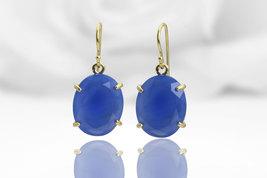 Blue onyx earrings,dangle earrings,prong earrings,gemstone earrings - $89.00+