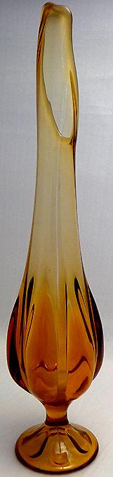 1950s Amber Waterfall Pressed Glass Vase