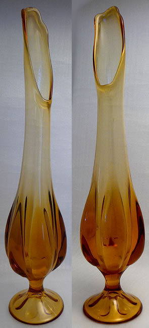 1950s Amber Waterfall Pressed Glass Vase  image 2