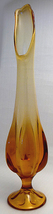 1950s Amber Waterfall Pressed Glass Vase  image 3