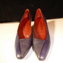 "Yves Saint Laurent Paris 2 Tone Blue Gray Leather 2.5"" Pumps Made in Ita... - $29.66"