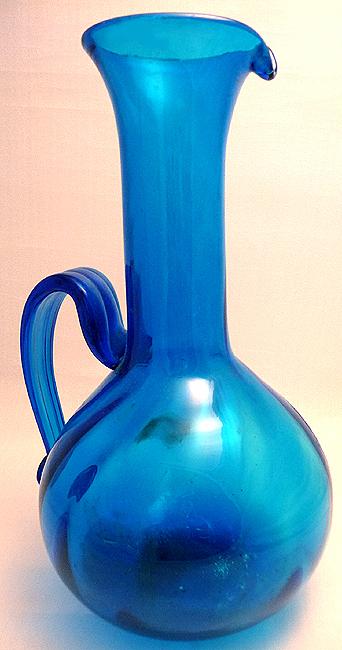 Mid 20thCentury LARGE Deep Blue Grecian Glass Urn Vase