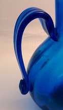 Mid 20thCentury LARGE Deep Blue Grecian Glass Urn Vase  image 2