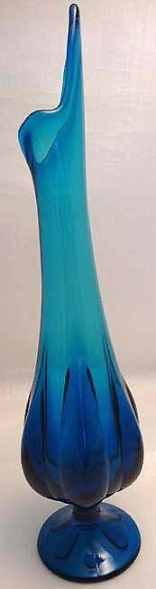 1950s Cool Sea Blue Waterfall Pressed Glass Vase  image 3