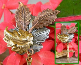 Maple Oak Leaves Cross Brooch Pin Tri Color Textured Metal Figural image 9