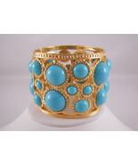 Kenneth Jay Lane Gold Turquoise Cabochon Hinge Cuff Bangle Bracelet - $160.38