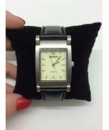 Benrus Wristwatch Silver Tone Black Leather Jewelry PIM203BL New Battery - $98.99