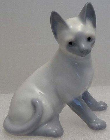 Seated 1950s Sweet Porcelain Blue Siamese Kitten
